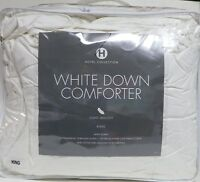 HOTEL COLLECTION WHITE DOWN COMFORTER LIGHTWEIGHT KING SIZE 300 THREAD COUNT
