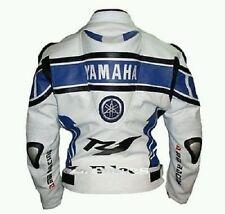 Men R1 Yamaha MotoGP White Blue Motorcycle Biker Leather Jacket Back Speed Hump