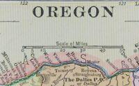 "Vintage 1900 OREGON Map 14""x11"" ~ Old Antique Original CORVALLIS PORTLAND SALEM"