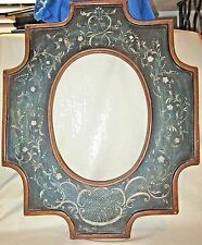 Beautiful Vintage Tole Painted Wood Picture Frame - Flowers & Vines - Signed