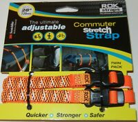 "ROK Straps Commuter Stretch Straps Adj 12""-28"" x 3/8 Orange/Black Reflective"