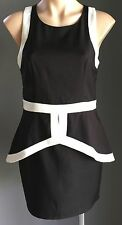Gorgeous DOTTI Black & White Peplum Waist Dress Size 10