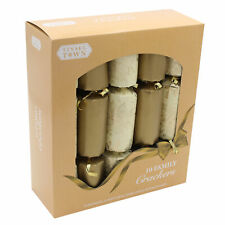 10 Pack Family 30cm Christmas Crackers - Gold / Ivory