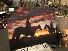 Cowboy w Horses Riding into the Sunset Radiance Lighted Canvas 71344 NEW western