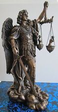 Bronze Angel St Saint Michael Archangel weighing Souls in Scales Statue Figurine