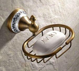 Vintage/Retro Antique Brass Bathroom Wall Mounted Soap Dish Holder Basket 8ba409