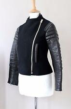 CELINE black wool lamb leather sleeves biker jacket FR36 UK8 US2-4 Rare Piece