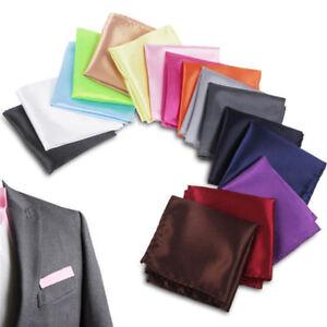 New Men Satin Pocket Square Hankerchief Plain Solid Color For Wedding Party