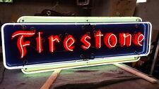 """New Firestone Metal Sign with Neon 72"""" Wide x 24"""" High - SSTN Neon Sign"""