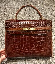 POLLINI Brown Genuine Crocodile Kelly Style Bag