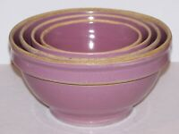 FABULOUS VINTAGE RARE SET OF 4 YELLOW WARE STONEWARE POTTERY LAVENDER BOWLS