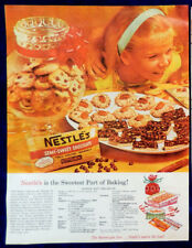 Vtg 1960 Nestle's chocolate cookie recipe retro girl advertisement print ad art