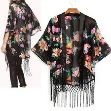 Hip Length Chiffon Floral Coats & Jackets Blazer for Women