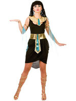 Adult 6 - 20 Cleopatra Black Costume Egyptian Queen Fancy Dress Ladies Outfit