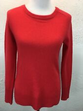 S20 Halogen XS 100% Cashmere Bright Coral Red Scoop Neck Sweater