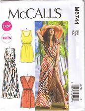 Easy Elastic Waist Knit Sun Dress Scoop Neck or Surplice Sewing Pattern XS S M