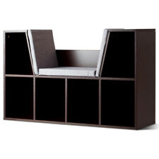6 Cubby Kid Bookcase Storage Cabinet Cushioned Display Shelf Living Room Brown