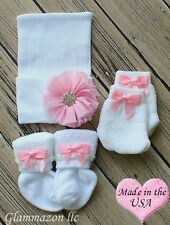 Newborn baby girl big bow beanie with socks mittens set of 3 keepsake gift