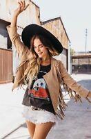 NWT $599 Free People X Cleobella Everly Suede Fringe Jacket Size Medium