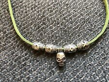 """green leather cord Necklace jewelry 18"""" skull beads  silver tone fun gift #53"""