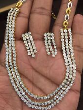 2.70 Cts Round Brilliant Cut Diamonds Necklace Earrings Set In Fine 14Karat Gold