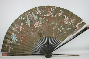 PAIR OF LARGE CHINESE FANS. LACQUERED WOOD AND WALLPAPER. 19TH CENTURY.