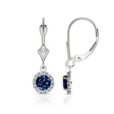 1.25CTW Round Halo Blue Sapphire Drop Dangle Leverback Earrings 14K White Gold