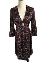 JIGSAW Silk Black Floral Print Dress Size 8 VGC