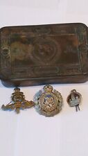 WW1 Joblot Cap Badges Queen Mary Tin. All Original.