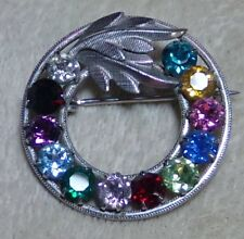Sterling Silver 12 Multi Color Rhinestone Gemstone Brooch Pin dce Curtis Jewelry