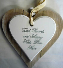 Tired Parents Double Layer Solid Wood Hanging Shabby Chic Love Heart with Bells