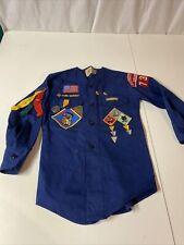 Vintage Cub Scout Long Sleeve Shirt Merit Badges & Awards, Bonus Webelos Scarf