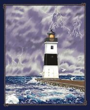 Lighthouse Wonders-Stormy Weather Lighthouse Panel-Blank Quilting-White Caps