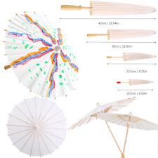 Chinese Retro Paper Umbrella White Parasol Kids Painting DIY Toy Dance Prop