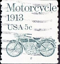 US - 1983 - 5 Cents Gray Green Motorcycle Coil # 1899 Plate Number 2 Single F-VF