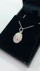 STERLING SILVER 925 SMALL OVAL ST CHRISTOPHER PENDANT + CHAIN CHILDS NECKLACE