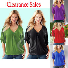 UK Plus Size Women's Summer V Neck Short Sleeve Shirt Tops Loose Casual Blouse
