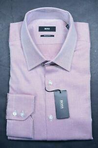 Hugo Boss Men's Enzo Regular Fit Pink Spotted Cotton Dress Shirt 41 16 34/35