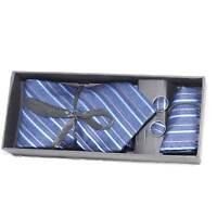 Set coordinato uomo cravatte con gemelli e pochette blu con fantasia a righe ele
