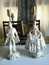 Pair Antique Porcelain Figurine Lamps, 18 inch,