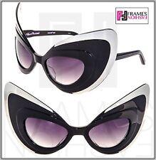 LINDA FARROW AGENT PROVOCATEUR WANT ME Shiny Black Silver Gradient Cat Eye Mask