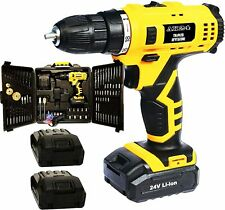Drill Screwdriver Dual Lithium Battery 24v with 130 accessories with suitcase