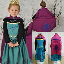 Frozen Queen Elsa Princess Costume Girls Cosplay Party Dress Up Fancy Halloween