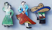 Estate Sterling Silver Enamel 3-Piece Pin Set / Lot by Jf Taxco-Wow!
