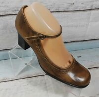 Nine West Women's Brown Leather Mary Jane Pumps Heels Shoes Size 8 M