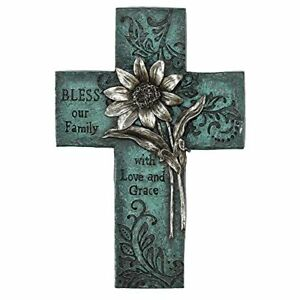 Bless Our Family Floral Turquoise 10 Inch Decorative Wall Cross