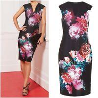 New B M Ladies BLACK Floral Print Bodycone Dress Party wedding dress Size10 - 24