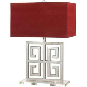 AF Lighting Santorini 25.5 in. Silver Table Lamp with Red Faux Leather Shade