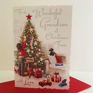 Jonny Javelin Wonderful Grandson Christmas Time Card Boy Christmas Tree/XV018