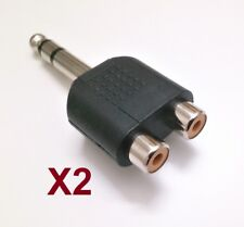 Adaptador Audio Doble RCA Hembra A Jack Macho ST 6,3 mm - Pack De 2 Unidades